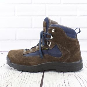 LL Bean Brown Suede W/ Blue Hiking Boots Size 10.5